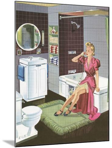 Thirties Bathroom Cheesecake--Mounted Art Print
