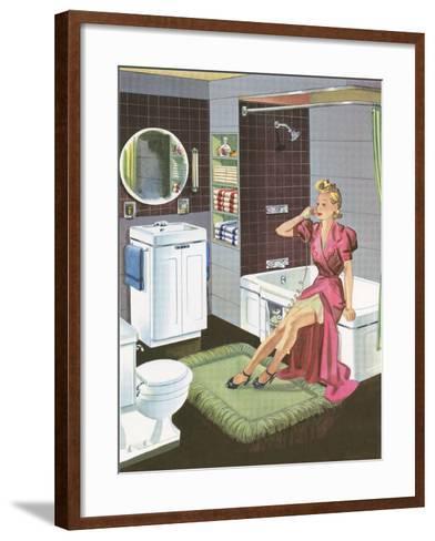 Thirties Bathroom Cheesecake--Framed Art Print