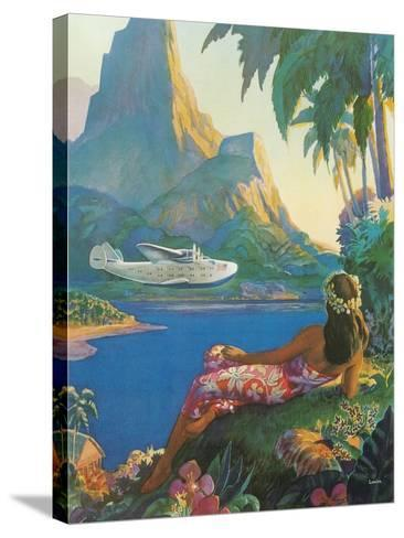 Clipper over Tahiti--Stretched Canvas Print