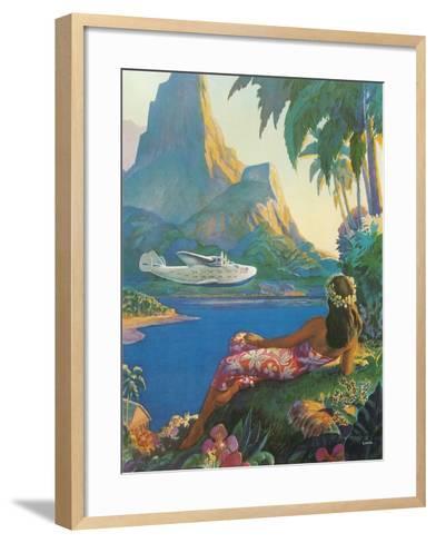Clipper over Tahiti--Framed Art Print
