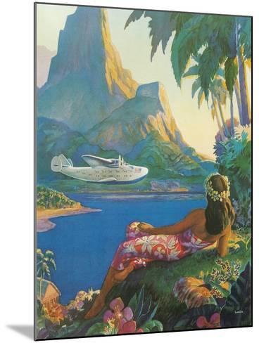 Clipper over Tahiti--Mounted Art Print