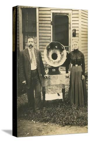 Farm Couple with New Victrola--Stretched Canvas Print