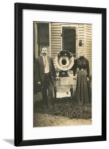 Farm Couple with New Victrola--Framed Art Print