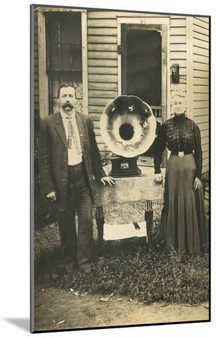 Farm Couple with New Victrola--Mounted Art Print