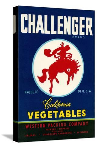Challenger Packing Crate Label, Bronco--Stretched Canvas Print