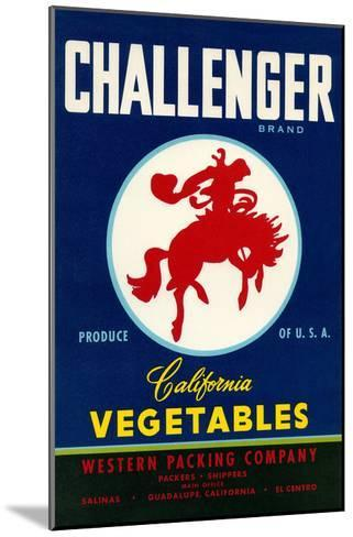 Challenger Packing Crate Label, Bronco--Mounted Art Print