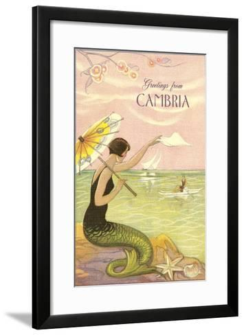 Greetings from Cambria, California--Framed Art Print
