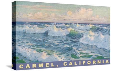 Beach Waves, Carmel, California--Stretched Canvas Print