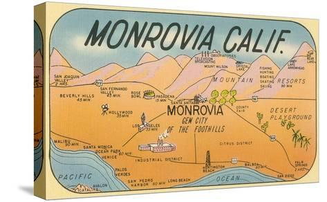 Map of Monrovia, California--Stretched Canvas Print