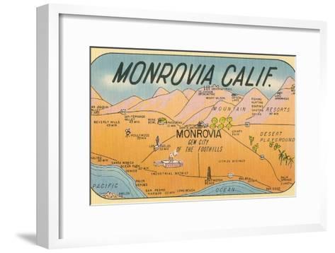 Map of Monrovia, California--Framed Art Print