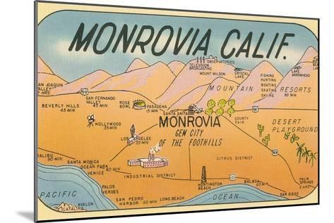 Map of Monrovia, California--Mounted Art Print