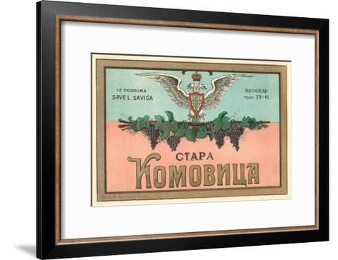 Label for Yugoslavian Wine--Framed Art Print