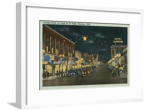 Downtown Modesto at Night--Framed Art Print