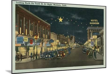 Downtown Modesto at Night--Mounted Art Print