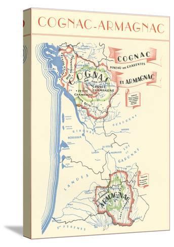 Map of Cognac-Armagnac Region--Stretched Canvas Print