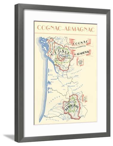 Map of Cognac-Armagnac Region--Framed Art Print