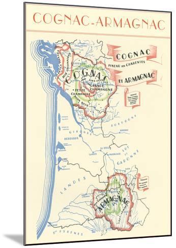 Map of Cognac-Armagnac Region--Mounted Art Print