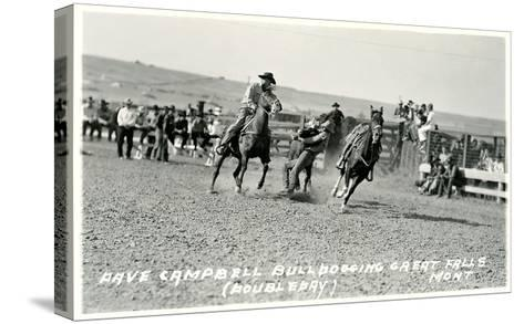 Cowboy Bulldogging, Montana--Stretched Canvas Print