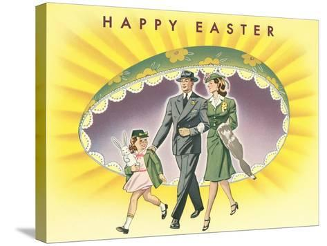 Happy Easter, Family with Giant Half-Egg--Stretched Canvas Print