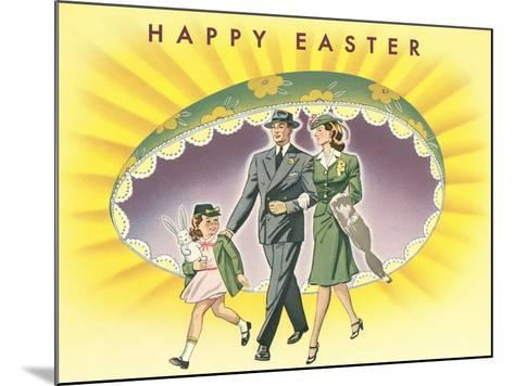 Happy Easter, Family with Giant Half-Egg--Mounted Art Print