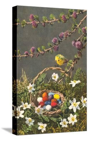 Bright Easter Eggs in Nest--Stretched Canvas Print