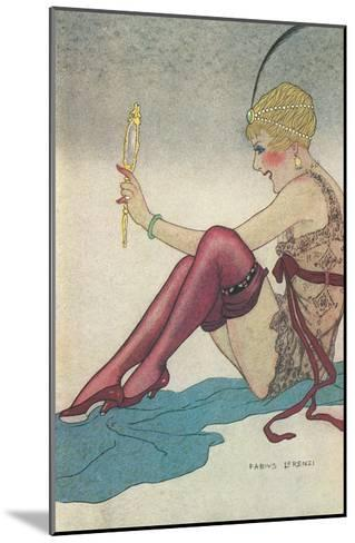 Flapper Admiring Herself in Mirror--Mounted Art Print