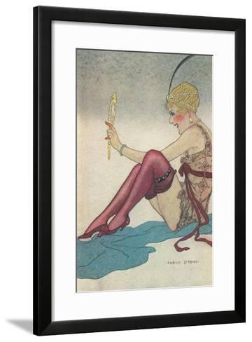 Flapper Admiring Herself in Mirror--Framed Art Print