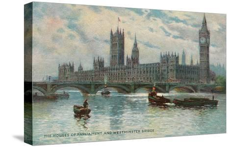 Houses of Parliament, Westminster Bridge, London, England--Stretched Canvas Print