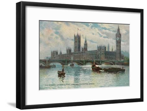 Houses of Parliament, Westminster Bridge, London, England--Framed Art Print