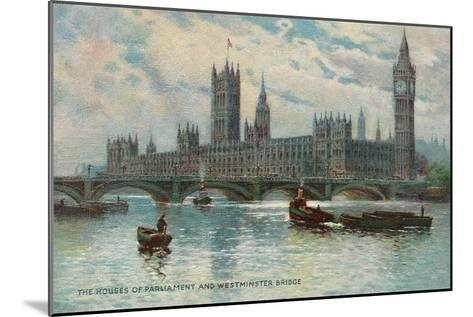 Houses of Parliament, Westminster Bridge, London, England--Mounted Art Print