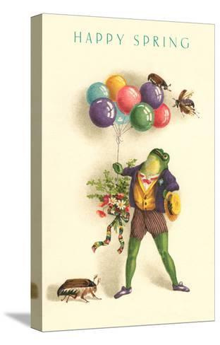 Happy Spring, Frog with Balloons--Stretched Canvas Print