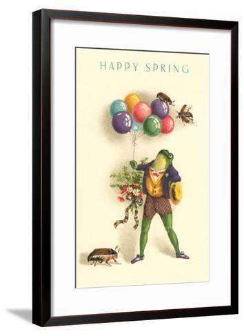 Happy Spring, Frog with Balloons--Framed Art Print