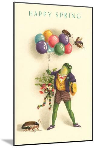 Happy Spring, Frog with Balloons--Mounted Art Print