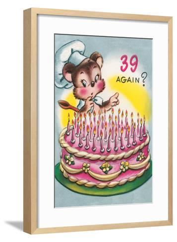 Mouse with Birthday Cake--Framed Art Print