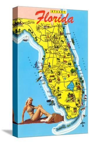 Map with Florida Attractions--Stretched Canvas Print