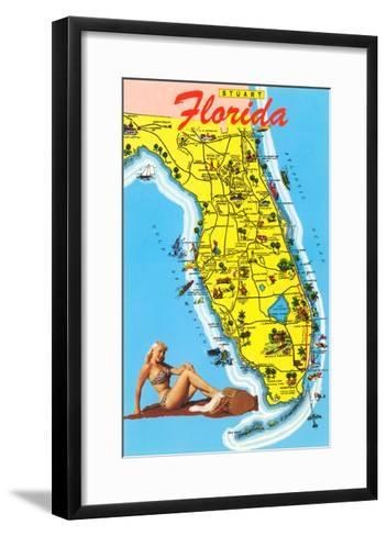 Map with Florida Attractions--Framed Art Print