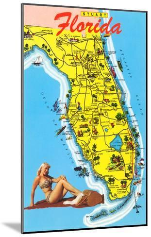 Map with Florida Attractions--Mounted Art Print
