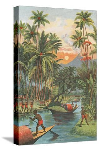 Tropical Paradise with Volcano--Stretched Canvas Print