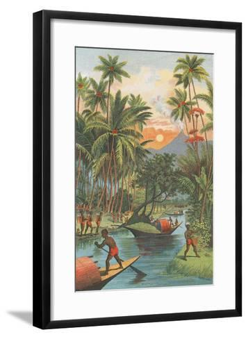 Tropical Paradise with Volcano--Framed Art Print