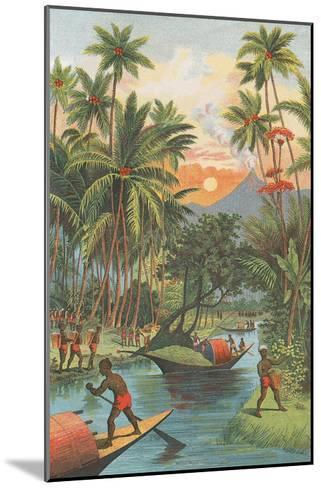 Tropical Paradise with Volcano--Mounted Art Print
