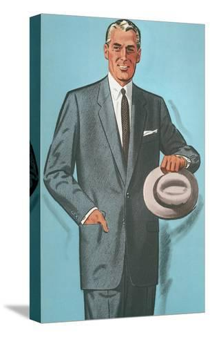 Man in Gray Suit Illustration--Stretched Canvas Print