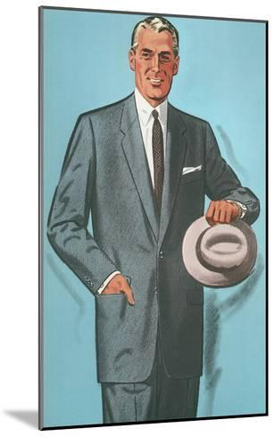 Man in Gray Suit Illustration--Mounted Art Print
