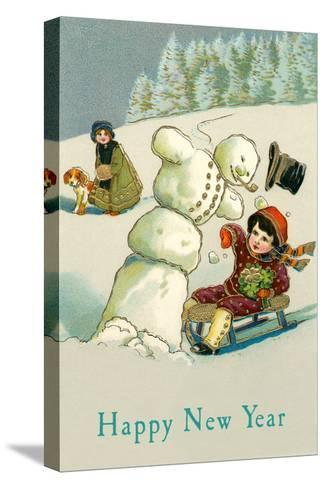 Happy New Year, Children and Snowman--Stretched Canvas Print