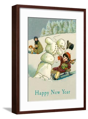 Happy New Year, Children and Snowman--Framed Art Print