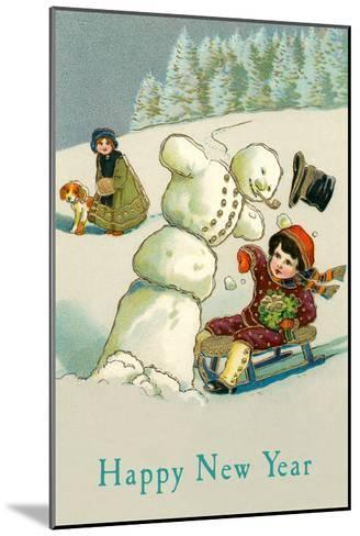 Happy New Year, Children and Snowman--Mounted Art Print