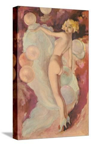 Naked Woman with Clouds and Balloons--Stretched Canvas Print