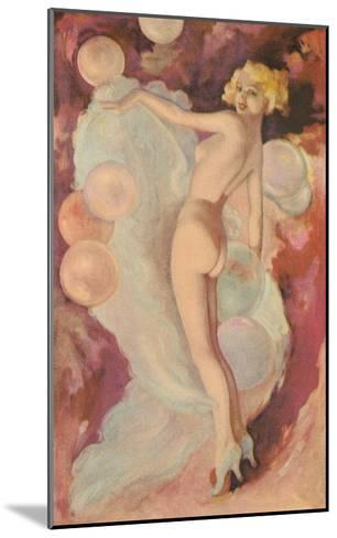 Naked Woman with Clouds and Balloons--Mounted Art Print