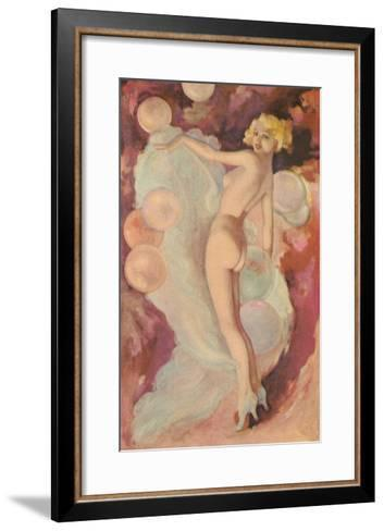 Naked Woman with Clouds and Balloons--Framed Art Print