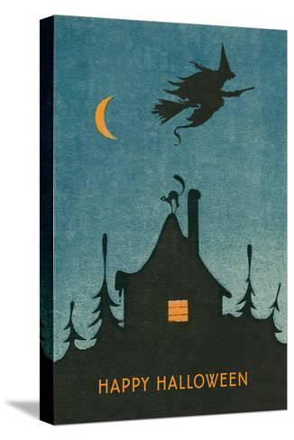 Happy Halloween, Witch Flying over House--Stretched Canvas Print