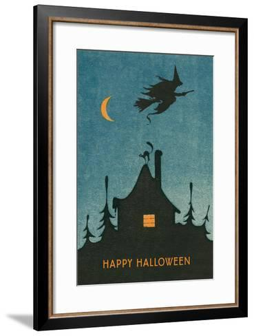Happy Halloween, Witch Flying over House--Framed Art Print